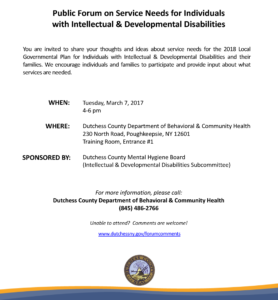 Public Forum on Service Needs for Individuals with Intellectual & Developmental Disabilities