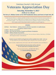 Dutchess County's 12th Annual Veterans Appreciation Day Saturday, November 4th