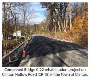 Bridge Work Complete on Clinton Hollow Road in Clinton