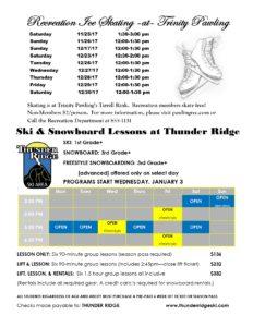 Recreation Ice Skating at Trinity Pawling and Ski & Snowboarding lessons at Thunder Ridge