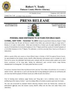 Peekskill man sentenced to 24 years for drug sales