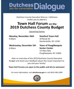 2019 Budget Town Hall Forum Series Continues Monday, November 26th in Stanford