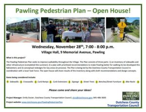 Pawling Pedestrian Plan – Open House Wednesday, November 28th, 7:00 – 8:00 p.m.