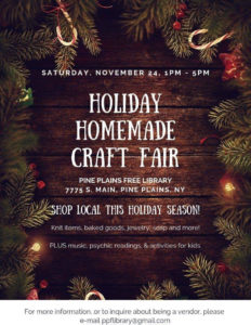 Pine Plains Free Library's Holiday Homemade Craft Fair Saturday, Nov. 24