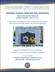 Dutchess County Veterans Day Ceremony Sunday, November 11th