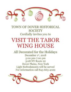 The Town of Dover Historical Society invites you to Visit The Tabor Wing House
