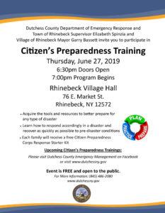 Next Citizen's Preparedness Training Held in Rhinebeck on Thursday
