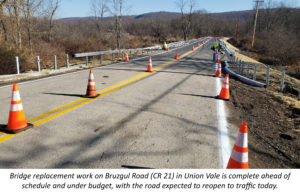 Bruzgul Road in Union Vale to Reopen to Traffic Today as Successful 2019 Construction Season Comes to an End