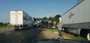 State Police responded to a crash on 84 that involved three tractor trailers and two DOT vehicles