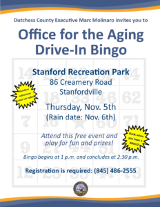 Office for the Aging Drive-In Bingo  Thursday, Nov. 5th