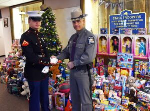 State Police in Troop K partnering with the United States Marine Corps to help local children