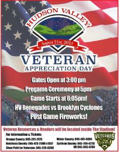 Hudson Valley Veteran AppreciationDay  Saturday, August 21st at Dutchess Stadium