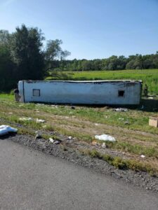 **UPDATE: Driver and bus company named** State Police are investigating a serious injury rollover crash involving a tour bus on I-90, Cayuga County 14 August 2021